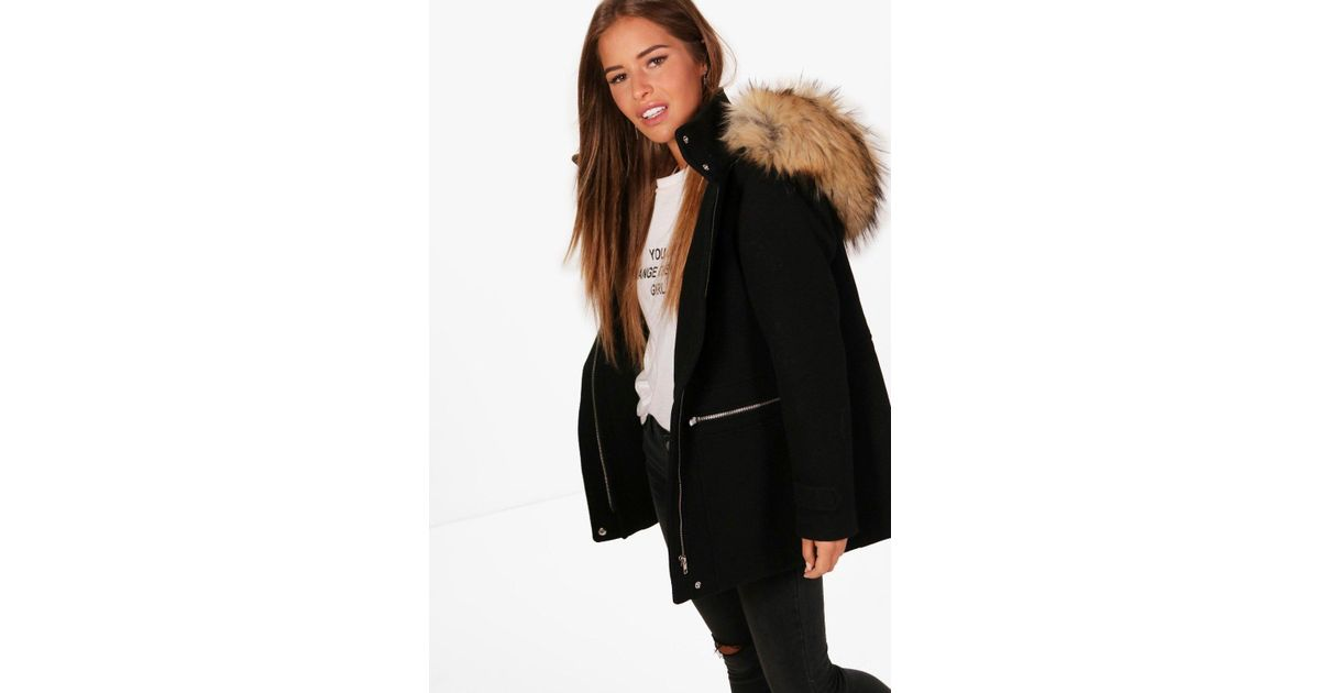 Boohoo Petite Annie Wool Fitted Parka in Black | Lyst