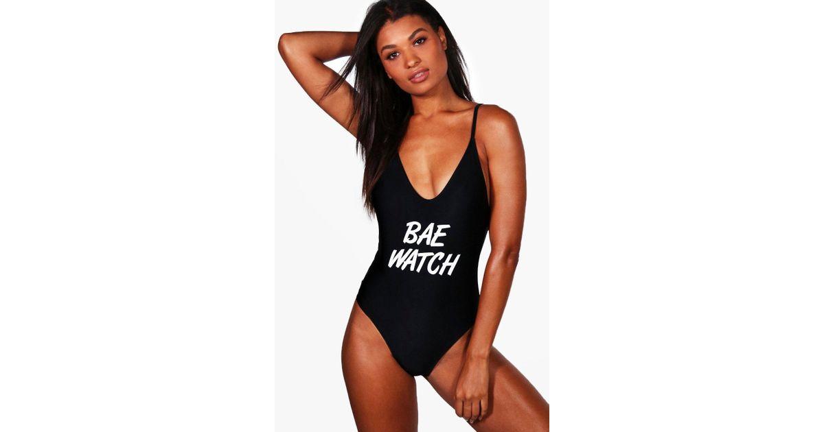 660c8d1d2df Boohoo California Bae Watch Slogan Scoop High Leg Swimsuit in Black - Lyst