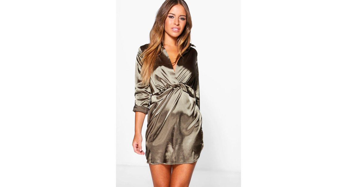 3d11a3f7a93 Boohoo Petite Clara Knot Front Satin Shirt Dress in Natural - Lyst