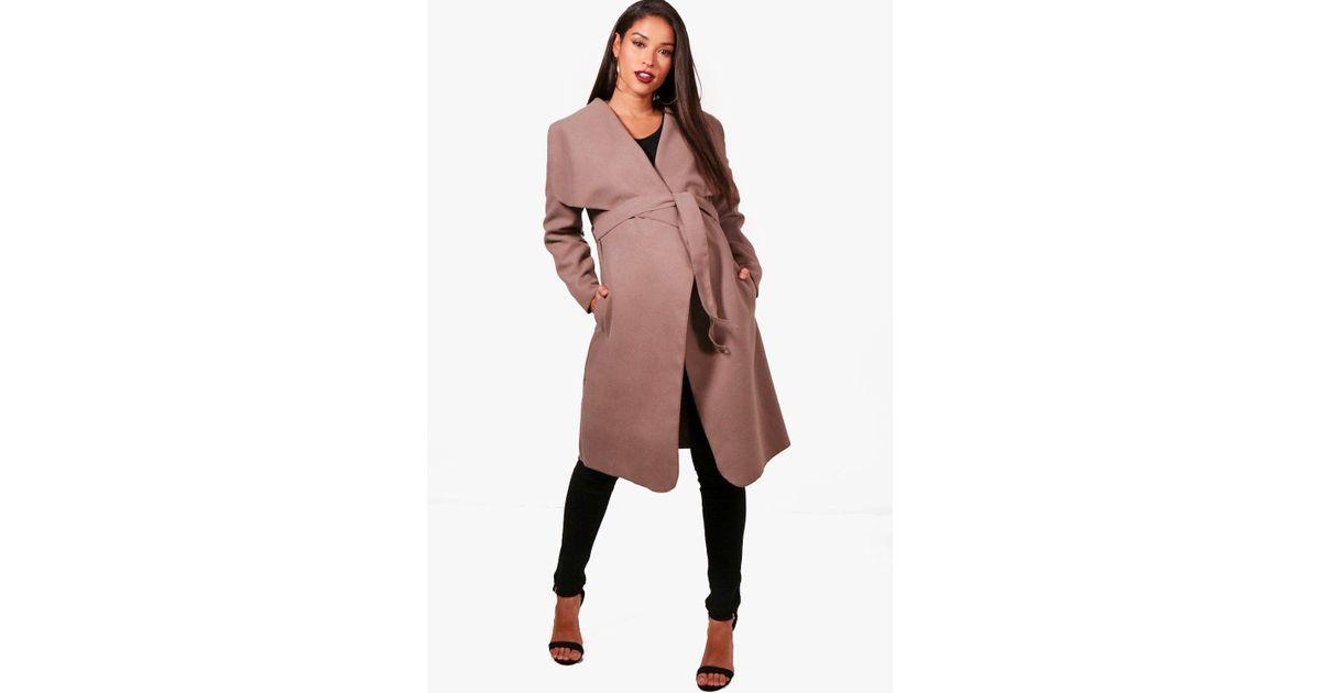 5c4f91dcdc186 Lyst - Boohoo Maternity Belted Shawl Collar Coat
