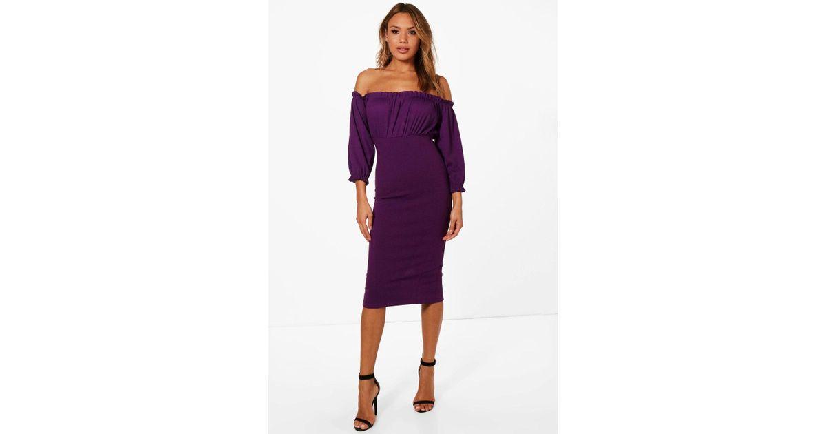 7964fa89c237 Boohoo Kristie Frill Detail Off The Shoulder Midi Dress in Purple - Lyst