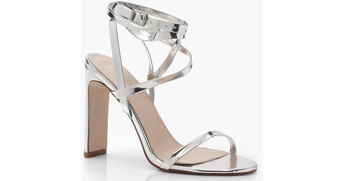a02b19f33b16 Boohoo Skinny Block Wrap Strap Heels in Metallic - Lyst