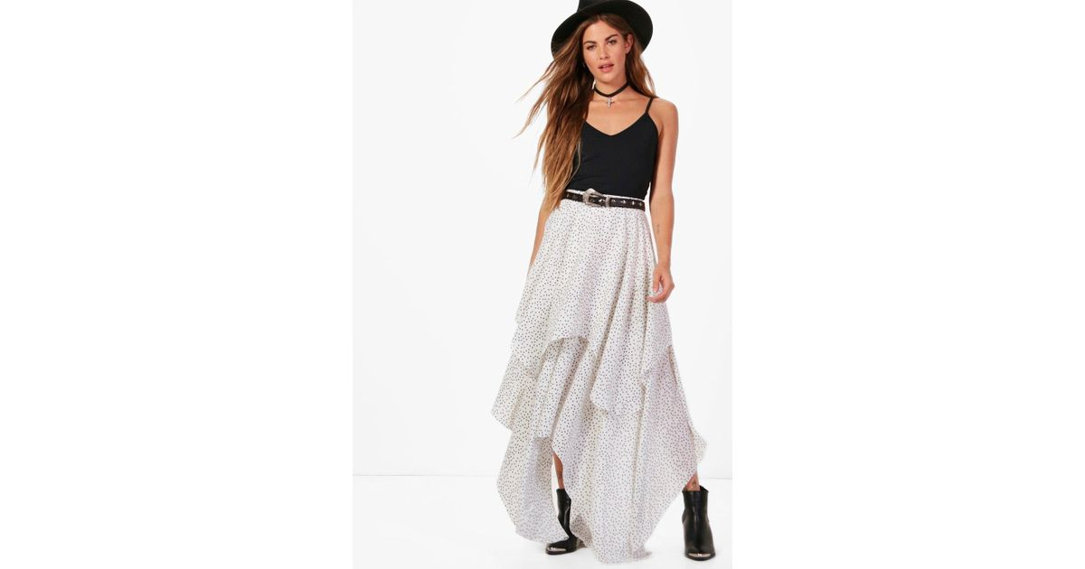 10fa0dcfbc Lyst - Boohoo Saffy Star Print Layered Maxi Skirt in White