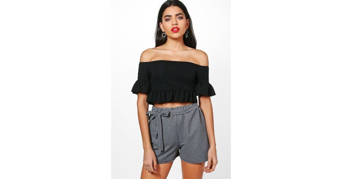 8e62addf43b Boohoo Hayley Bardot Ruffle Crop Top in Black - Lyst