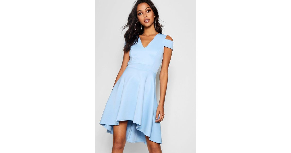 82ffb1cc177c Boohoo Bardot Plunge High Low Skater Dress in Blue - Lyst