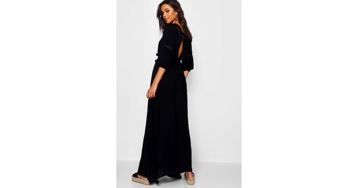 deef29e1e6 Lyst - Boohoo Shirred Waist Open Back Boho Midi Dress in Black