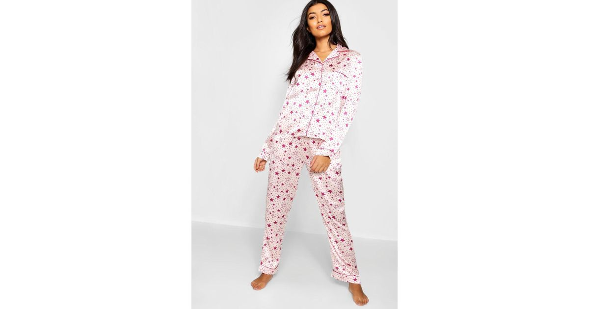 1de83defd2 Boohoo Star Print Satin Button Through Pj Set in Pink - Lyst