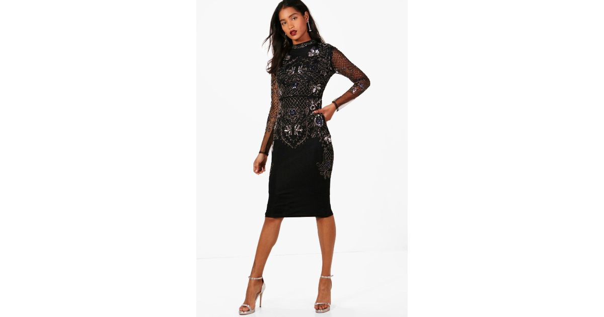 ae99602eb6da Boohoo Boutique Embellished Midi Dress in Black - Lyst