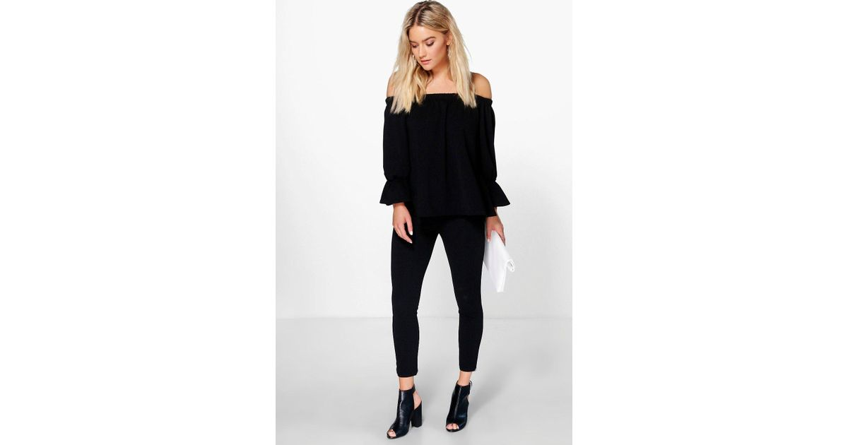 958397693ac20a Boohoo Lia Off Shoulder Top & Skinny Trouser Co-ord Set in Black - Lyst