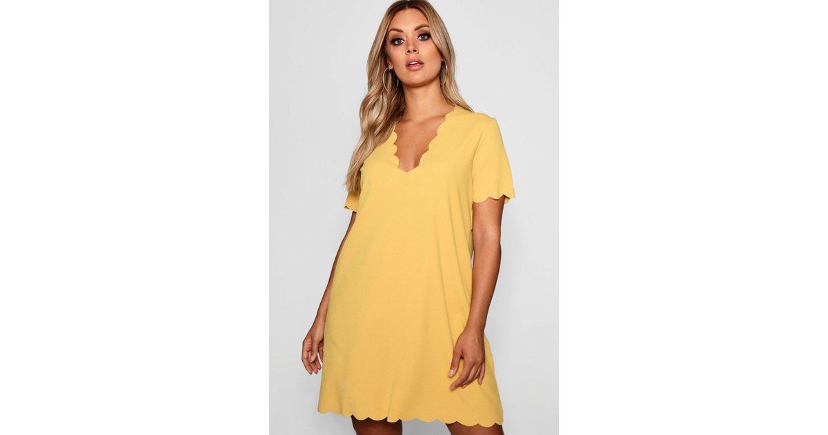 6deab2c02f14 Lyst - Boohoo Plus Scallop Edge V Neck Shift Dress in Yellow