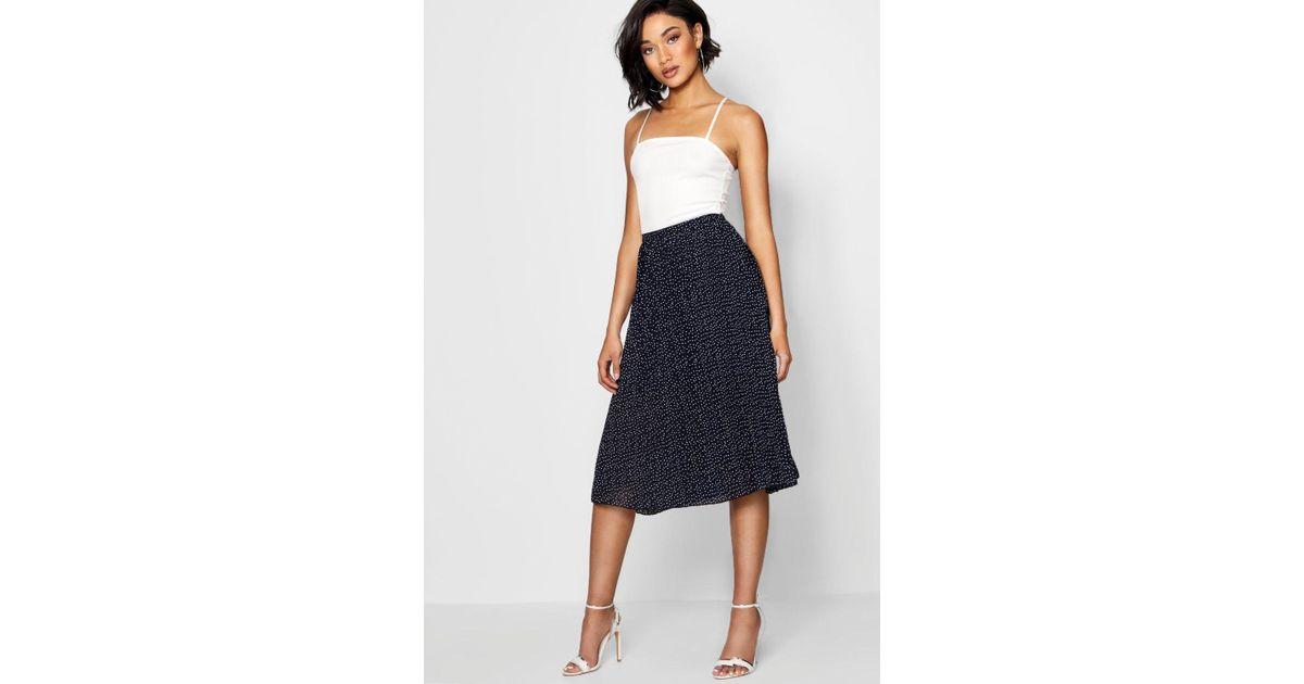 ba728da7c Lyst - Boohoo Woven Polka Dot Pleated Midi Skirt in Blue