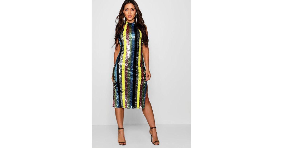 16afe81a90c4 Boohoo Rainbow Sequin High Neck Midi Dress in Black - Lyst