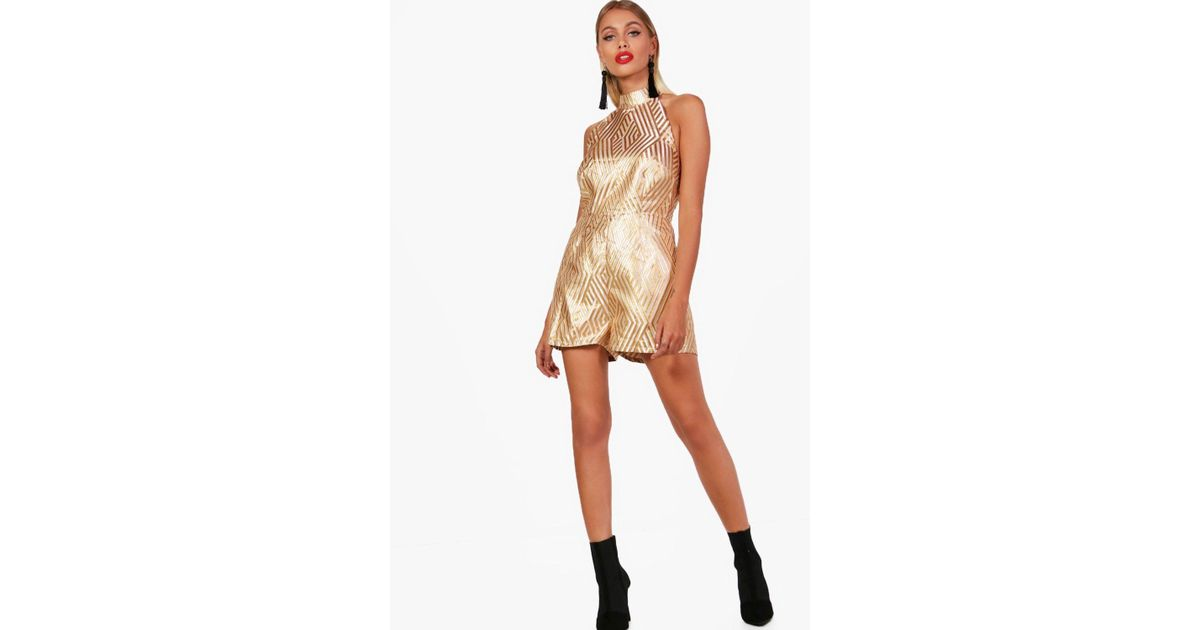 2dfa67cb9e Boohoo Melody Halter Neck Structured Playsuit in Metallic - Lyst