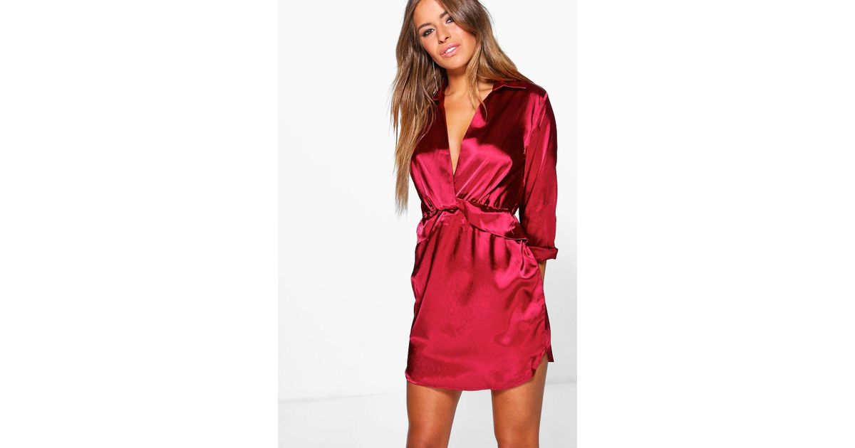 c0febe8c618 Boohoo Petite Clara Knot Front Satin Shirt Dress in Red - Lyst