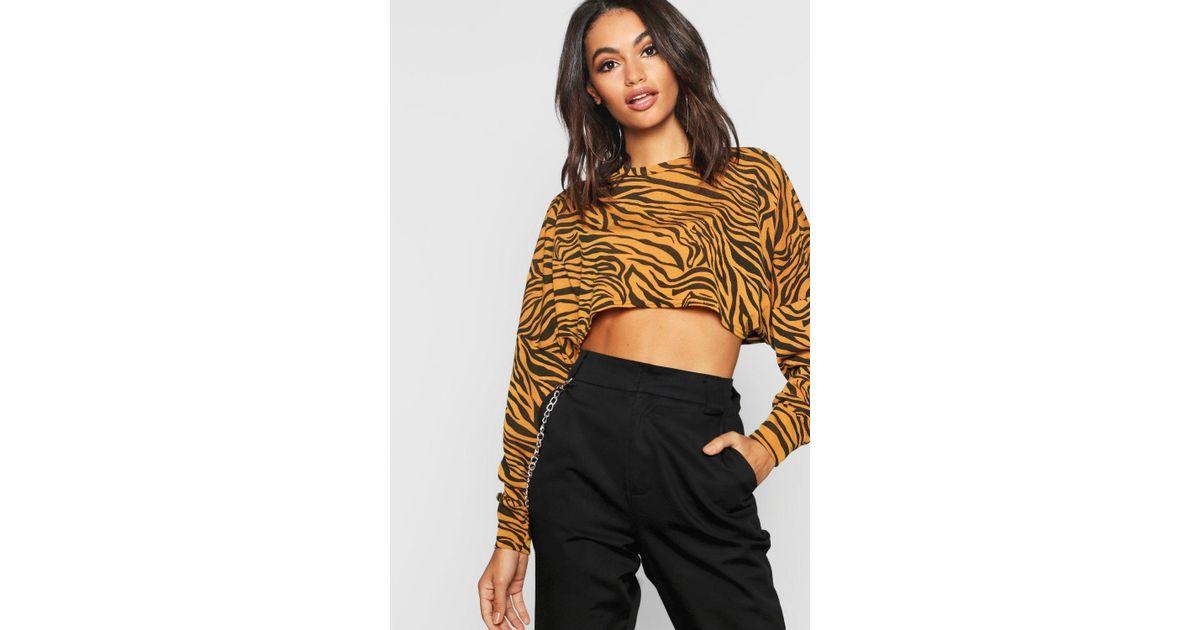 b3e5392a68eb4 Boohoo Knitted Batwing Boxy Crop Top Zebra Animal Print - Lyst