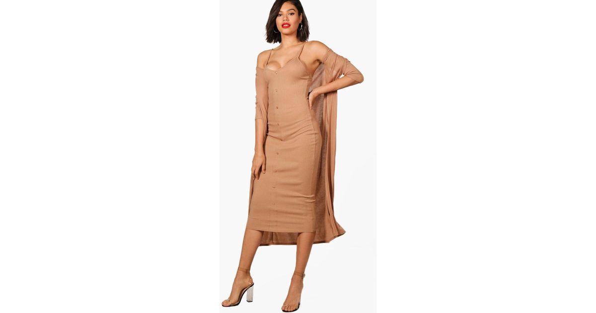9ef22e7576a Lyst - Boohoo Emma Knitted Midaxi Dress And Cardigan Set