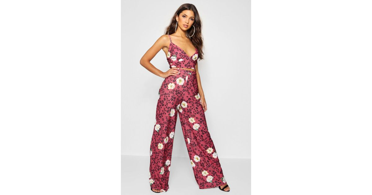 91accb2c073c Lyst - Boohoo Leopard Floral Bralet   Trouser Co-ord in Red