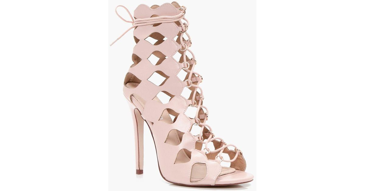 963d04ade99 Boohoo - Pink Zoe Cage Ghillie Lace Up Heels - Lyst