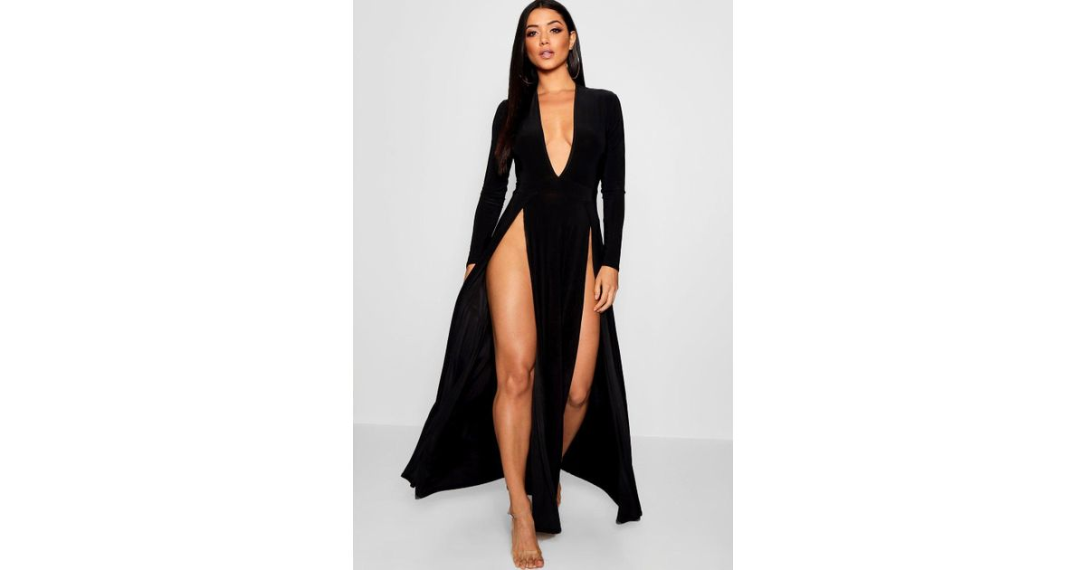 a9ca333ac85e Boohoo Extreme Split Plunge Neck Slinky Maxi Dress in Black - Lyst