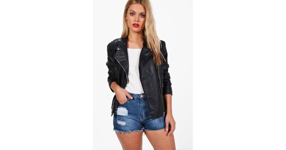 36c70a16b Boohoo Black Plus Maisie Pu Biker Jacket