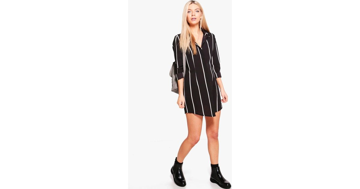 70999a1b843b Boohoo Chiara Wide Stripe Shirt Dress in Black - Lyst