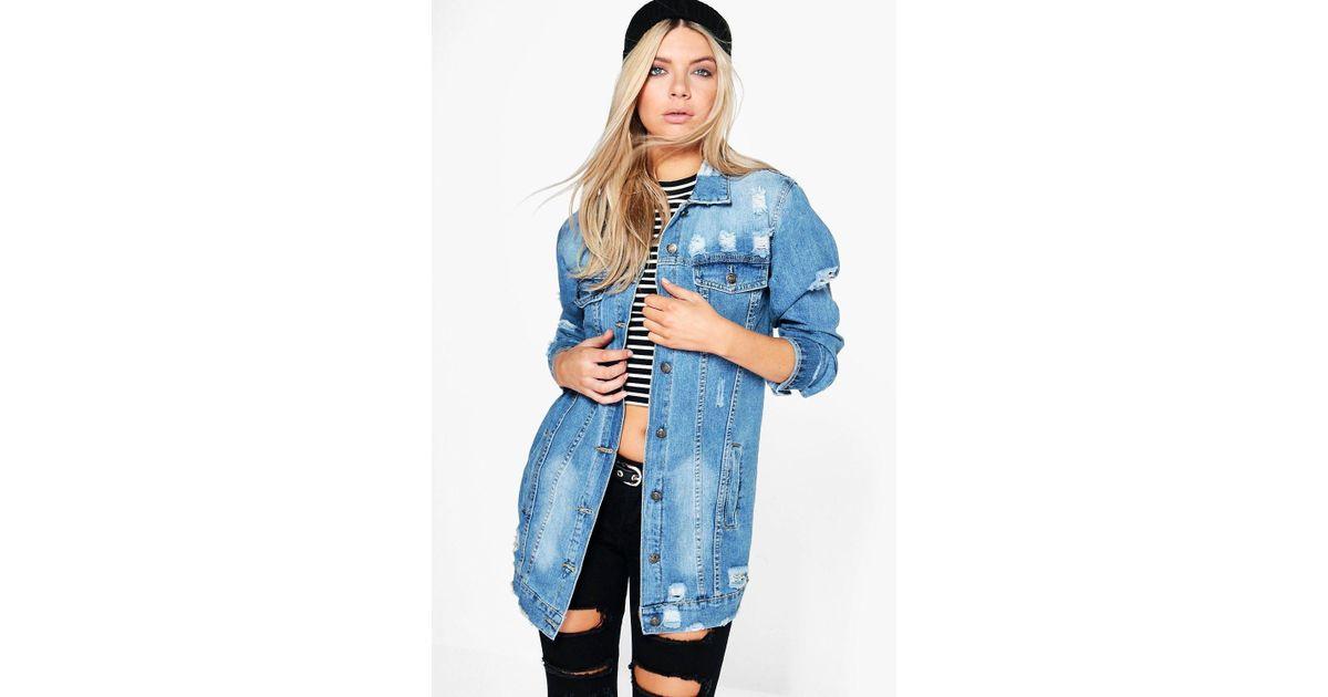 0e3febf1542 Boohoo Longline Distressed Denim Jacket in Blue - Lyst