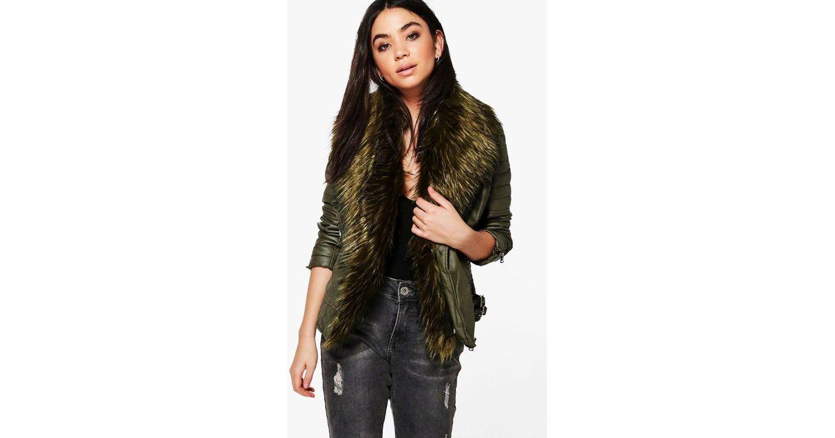 fea9808f3 Boohoo - Green Freya Faux Fur Collar Biker Jacket - Lyst
