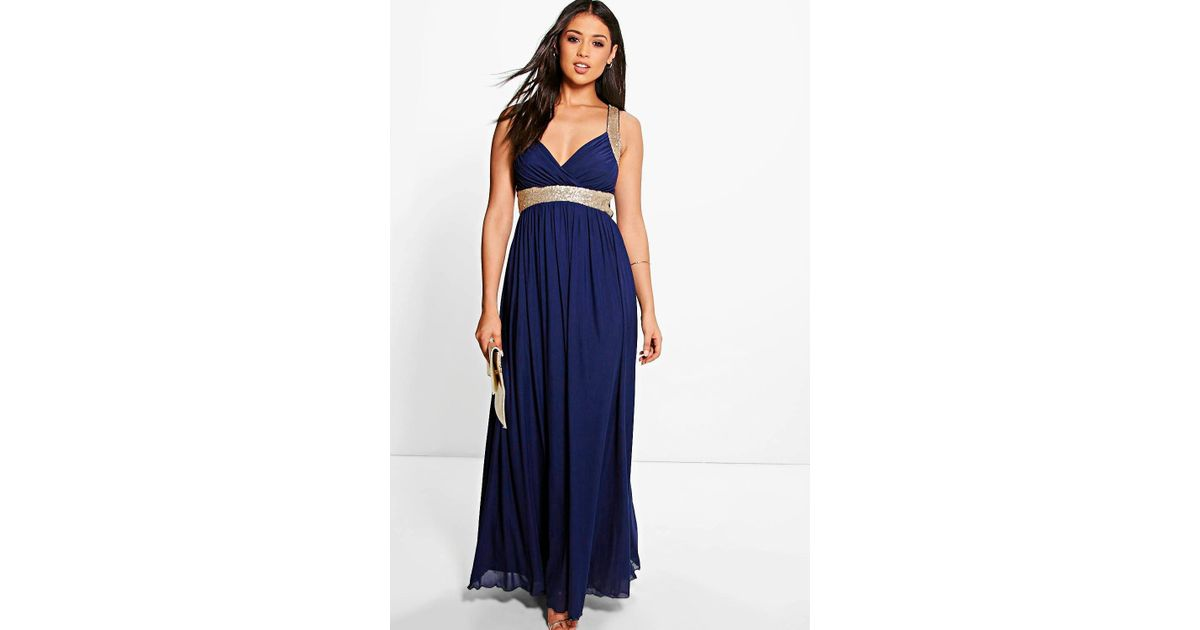 88ea3eedc6f Boohoo Boutique Sequin Panel Mesh Maxi Dress in Blue - Lyst
