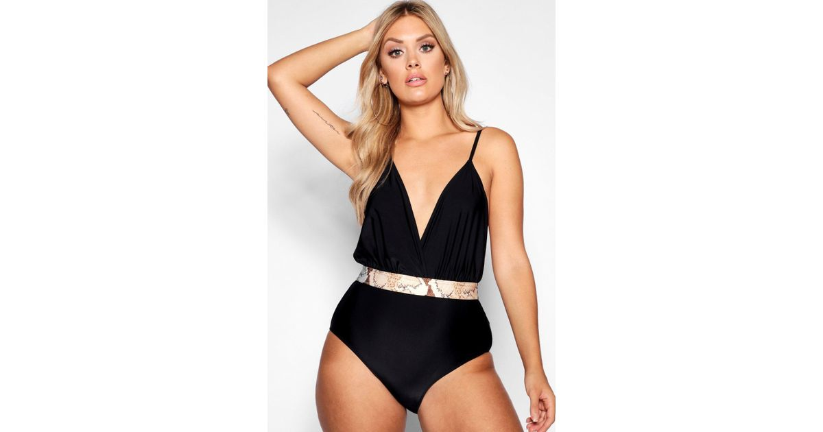 63f5ed65f728d Boohoo Plus Plunge Snake Belt Swimsuit in Black - Lyst