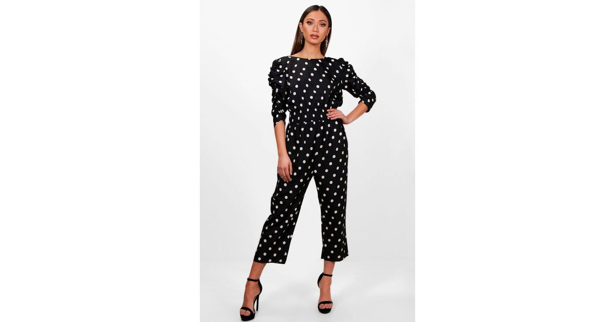 f3305fab22 Boohoo Polka Dot Ruched Sleeve Culotte Jumpsuit in Black - Lyst