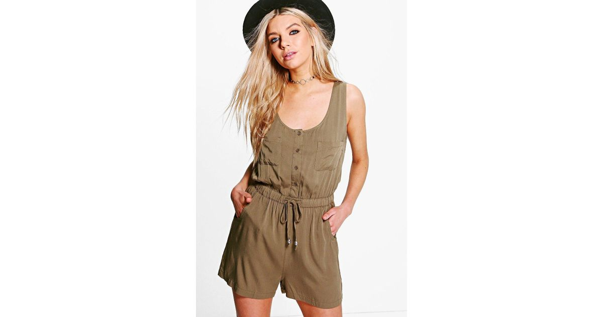 73d20f561f7c Boohoo Karina Utility Style Playsuit in Natural - Lyst