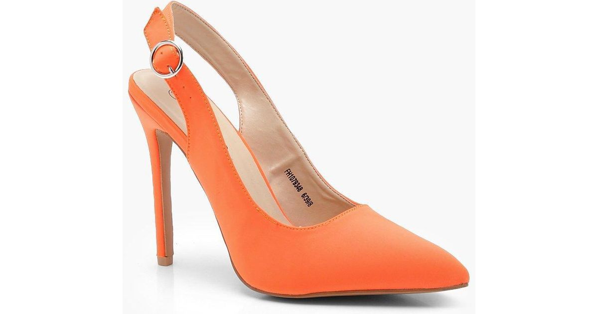 c72e2cf98747 Boohoo Sling Back Pointed Court Shoes in Orange - Lyst