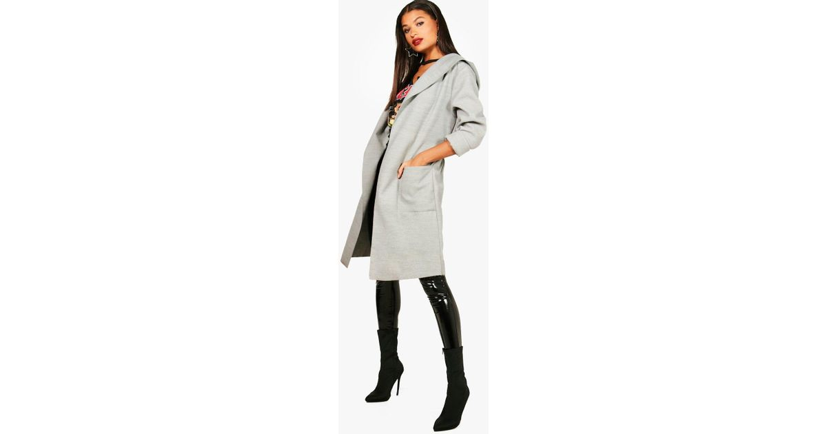 3047600ac49f0 Boohoo Hooded Belted Coat in Gray - Lyst