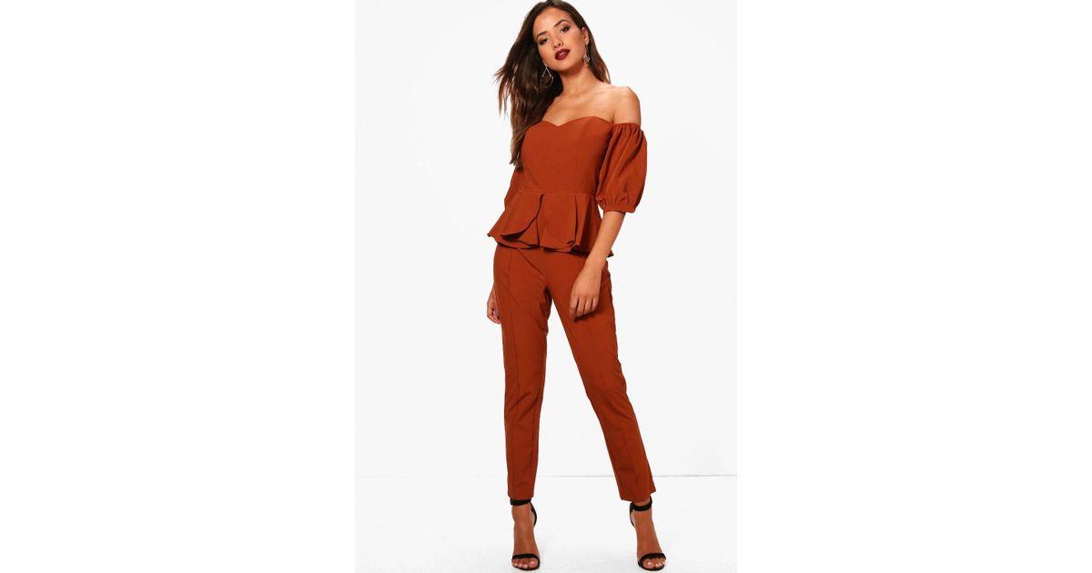 5d7ee4373875 Lyst - Boohoo Peplum Bandeau Skinny Leg Jumpsuit in Brown