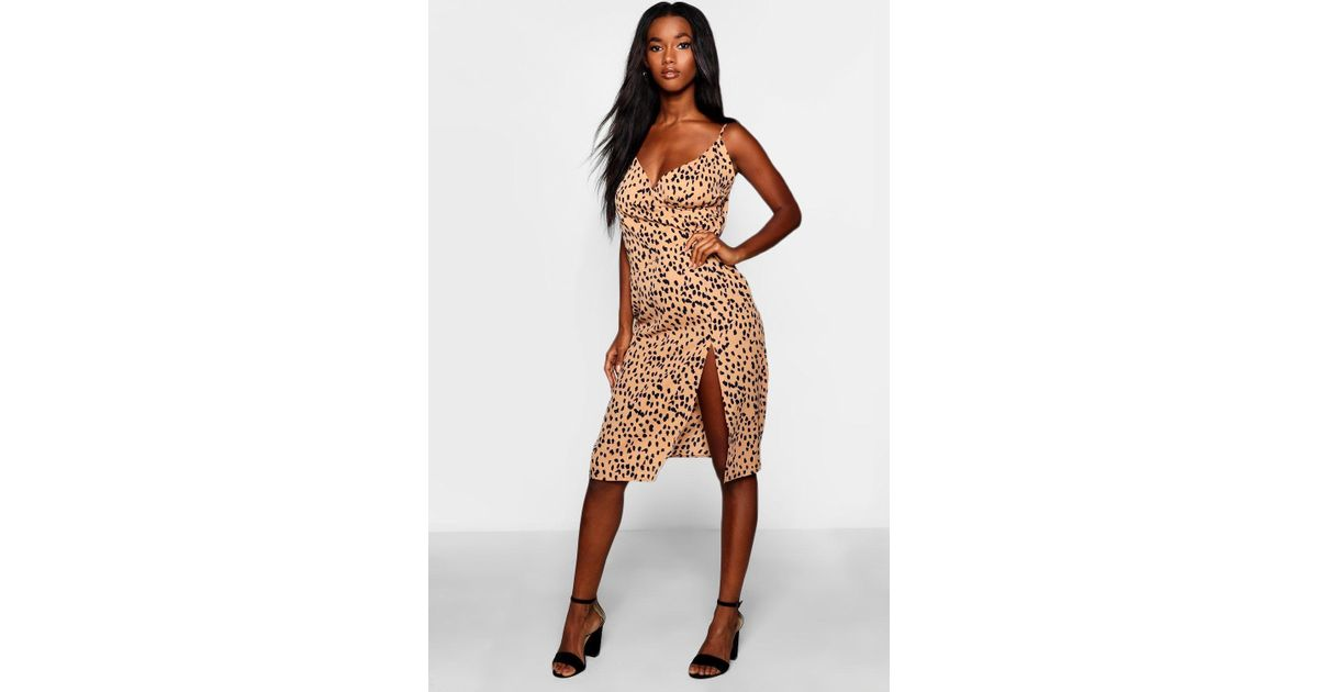 a8c4d8a82f4 Boohoo Floral Print Strappy Full Skater Dress   Lyst boohoo animal print  wrap midi dress
