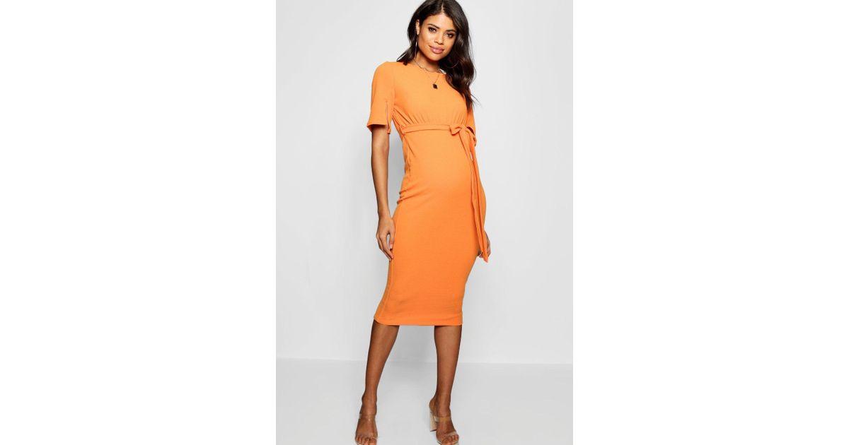 dd813e3a5410e Boohoo Maternity Belted Split Sleeve Wiggle Dress in Orange - Lyst