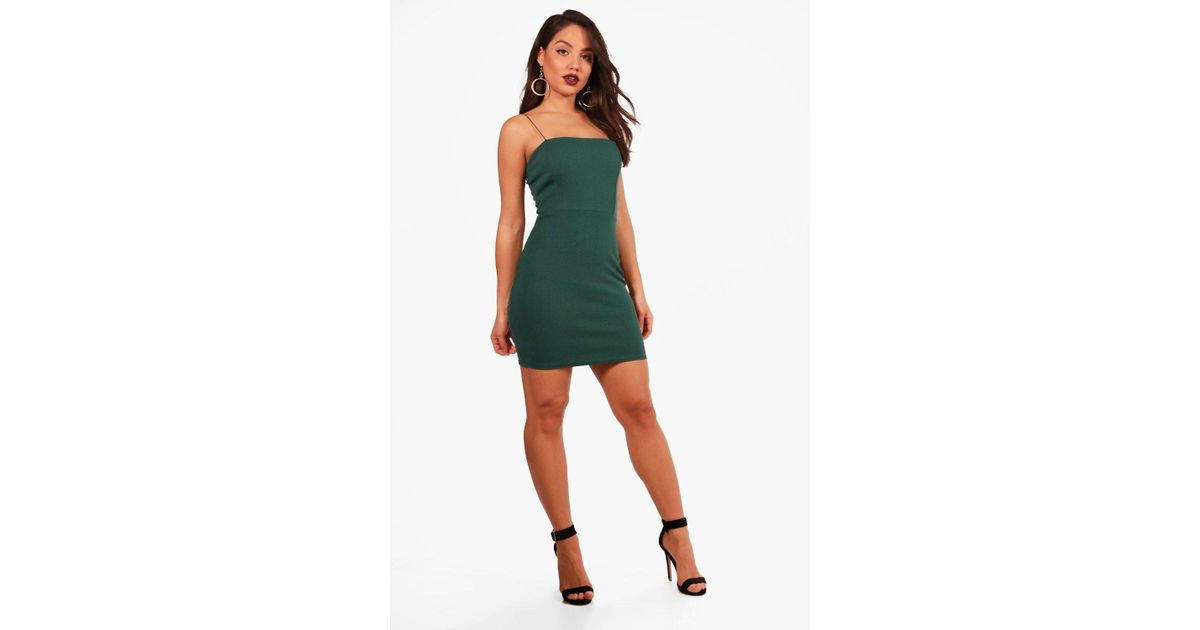c6a41f7a0464d Boohoo Crepe Square Neck Bodycon Dress in Green - Lyst