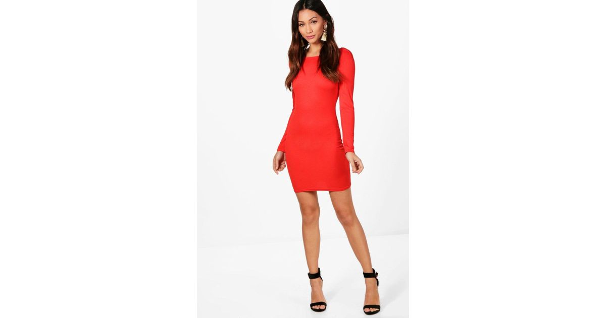 9ffd9fa348af5 Boohoo Petite Natasha Long Sleeve Bodycon Dress in Red - Lyst