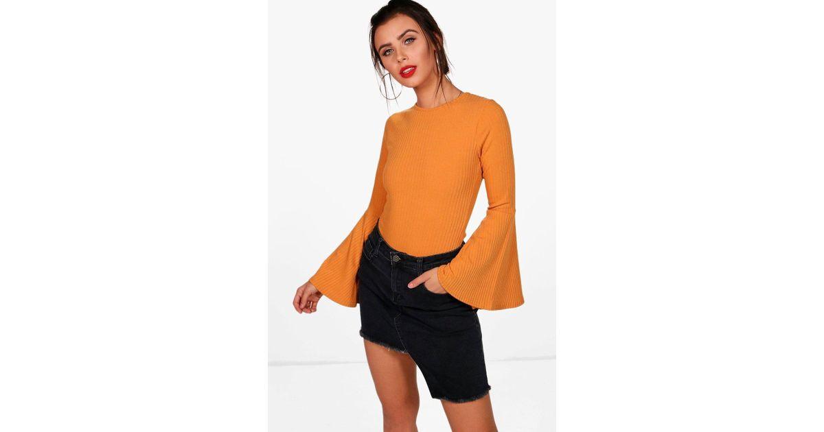 a641663b912f Lyst - Boohoo Petite Mel Flared Sleeve Rib Knit Bodysuit in Orange