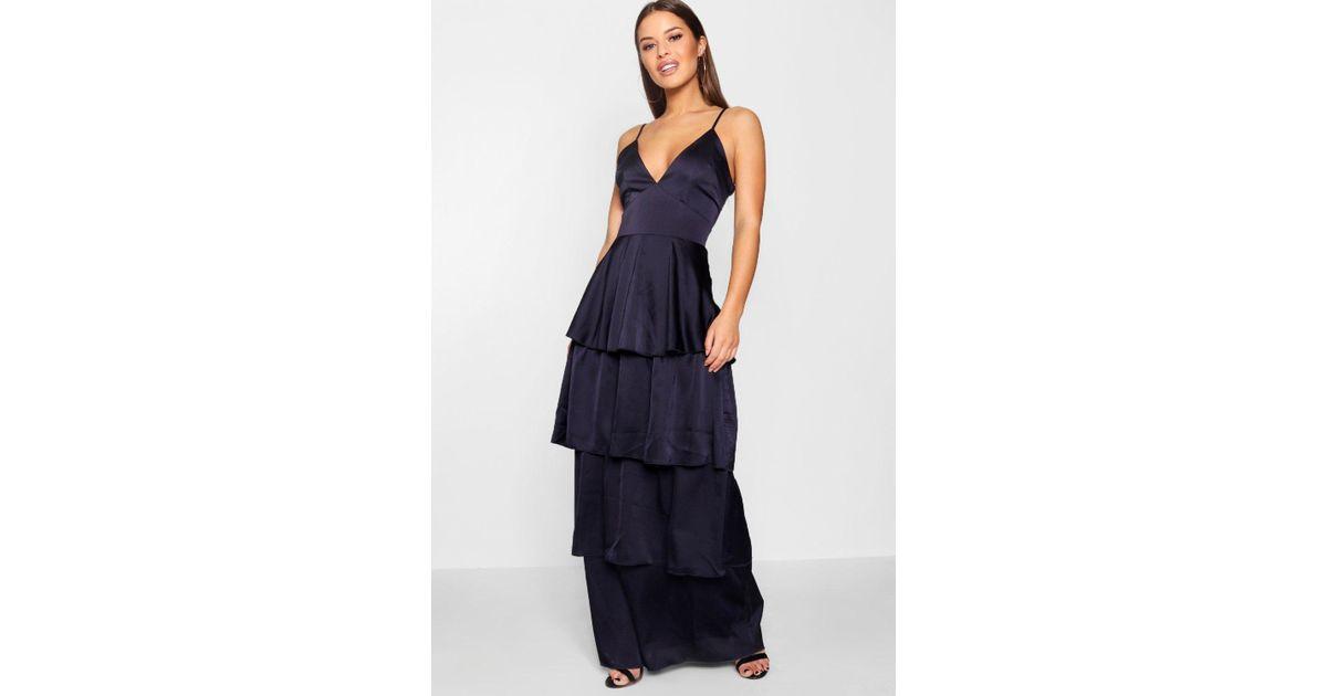 ad73f11473 Lyst - Boohoo Petite Satin Tiered Maxi Dress in Blue