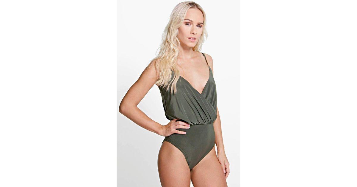 7fe0178ee7 Boohoo Petite Slinky Wrap Front Bodysuit in Gray - Lyst