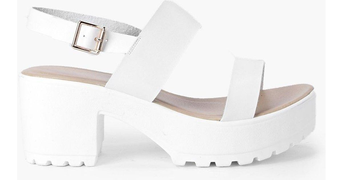 57b936e0f1fd Lyst - Boohoo Two Part Cleated Sandals in White - Save 31%