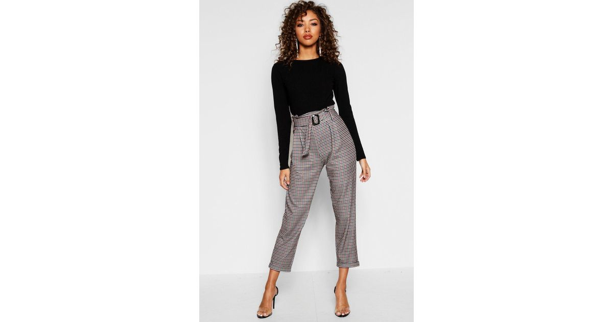0838048a9e8aa Boohoo Heritage Check Belted Tapered Trouser - Lyst