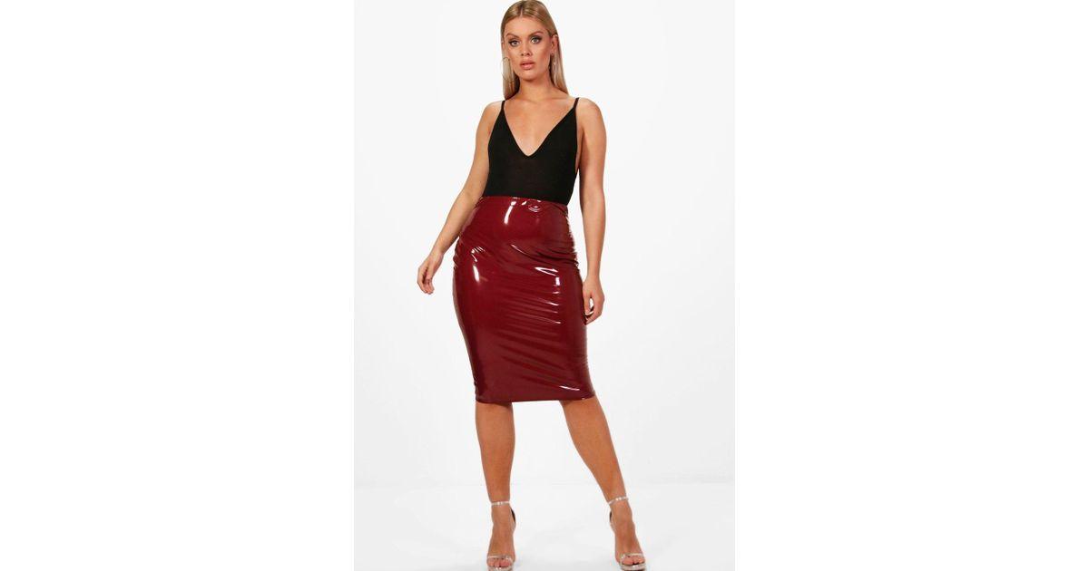 7838e3f77d49 Lyst - Boohoo Plus Vinyl Skirt in Red