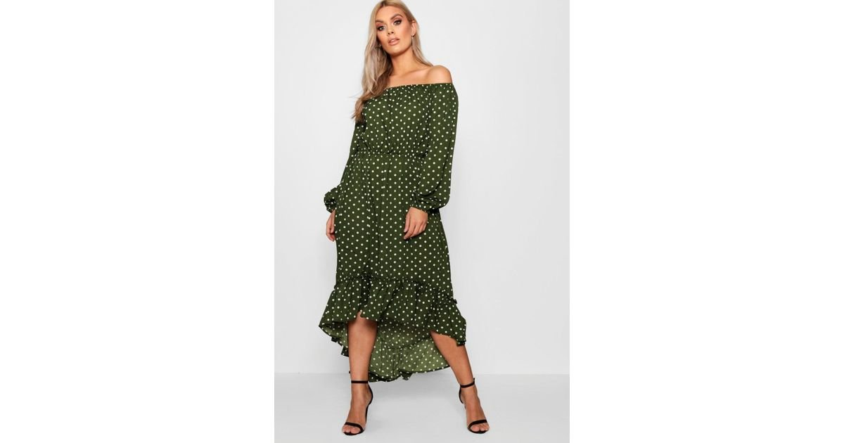 e13b620a6b Boohoo Plus Spotty Ruffle Off Shoulder Maxi Dress in Green - Lyst
