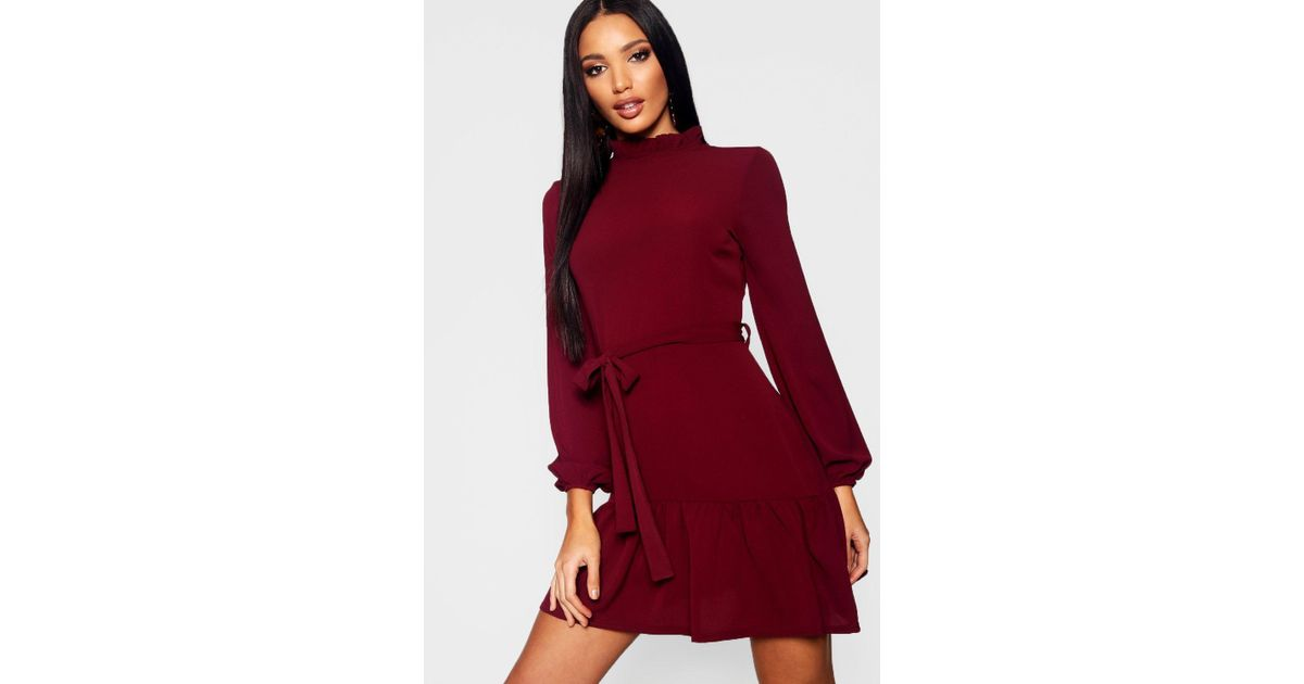 45e139df9f Lyst - Boohoo Woven Ruffle Detail Neck Tie Waist Skater Dress in Red