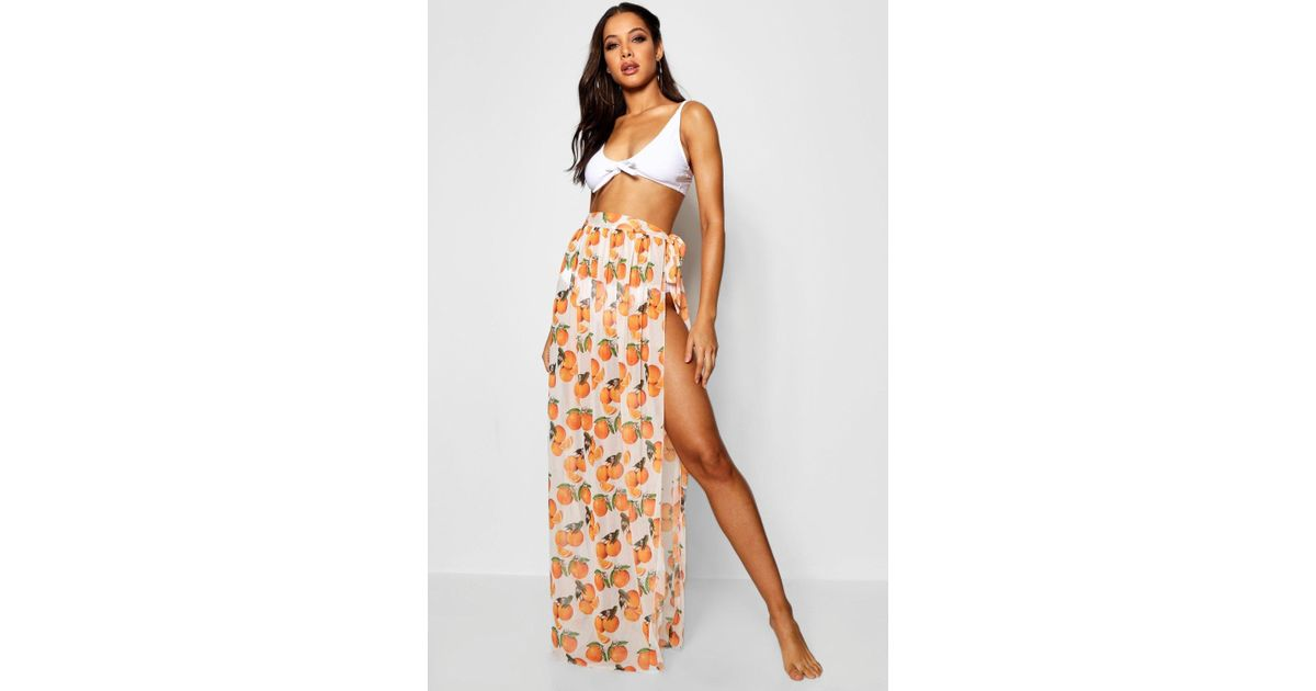 1834bfd916 Boohoo Charlotte Clementine Print Beach Sarong in White - Lyst