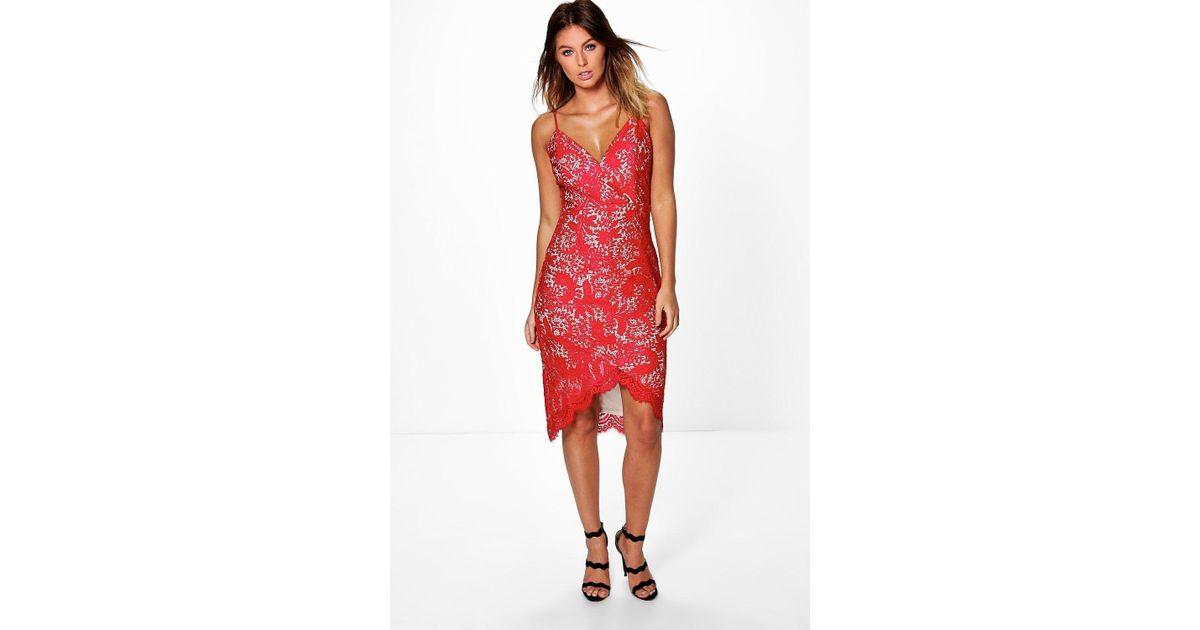 Lyst - Boohoo Boutique Emi Strappy Eyelash Lace Midi Dress in Red 715ed7b25