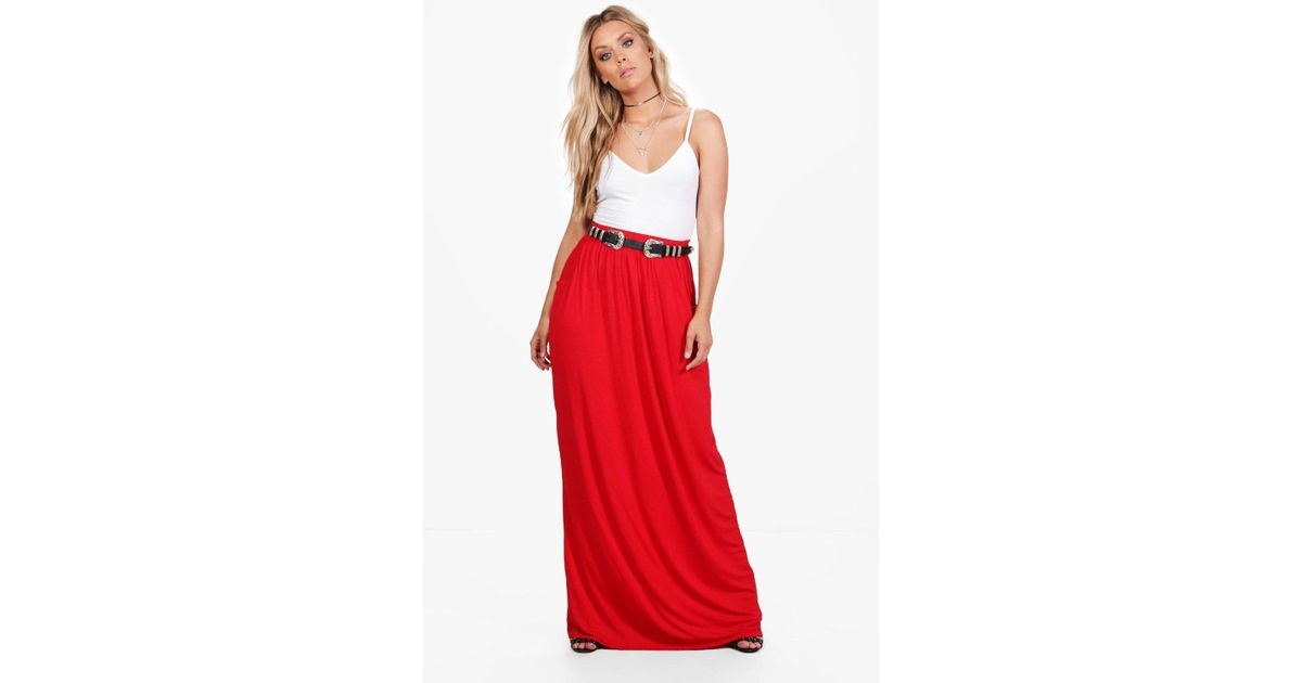 a0a00a06033 Boohoo Plus Rae Pocket Front Jersey Maxi Skirt in Red - Lyst