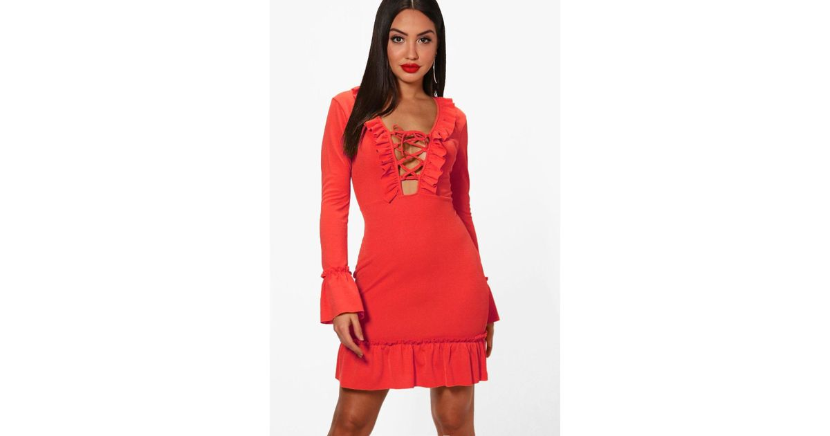 611205bb0d Lyst - Boohoo Lace Up Front Ruffle Hem Tea Dress in Red